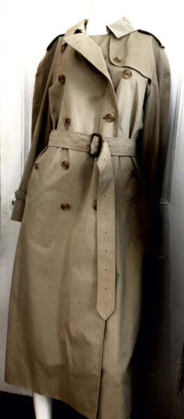 Burberry Trench Coat Classic 100% Cotton Plaid Lining Size S M $325.00