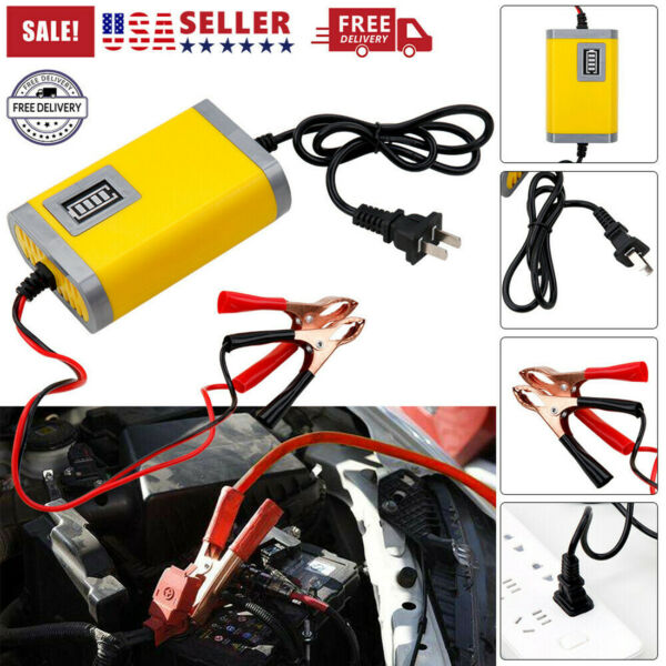 12V 2A Auto Car Battery Charger Tender Trickle Maintainer Boat Motorcycle Lead $10.79
