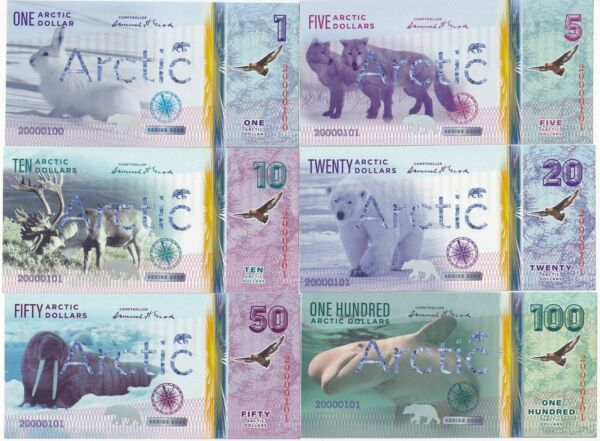 Arctic Set 6 banknotes 2020 Polymer Private Issue UNC 33556 $13.00