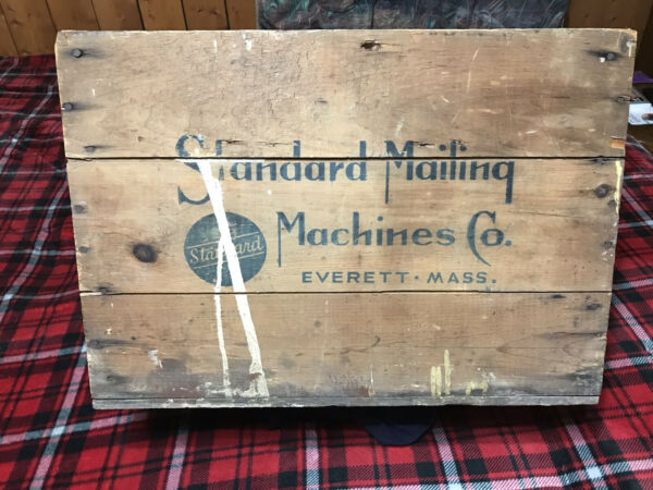 """Large Vintage Wood Crate Standard Mailing Machines Co Everett Mass 22 1 2"""" X 16"""""""