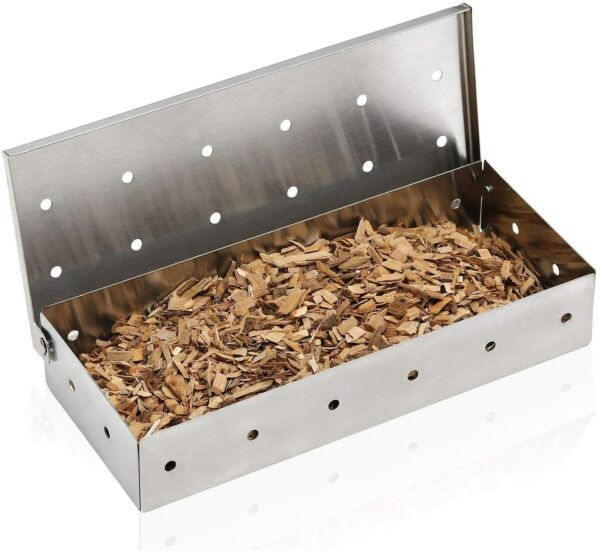 Stainless Steel Shell BBQ Grill Smoker Box Hinged Lid for Meat Smoking Wood Chip