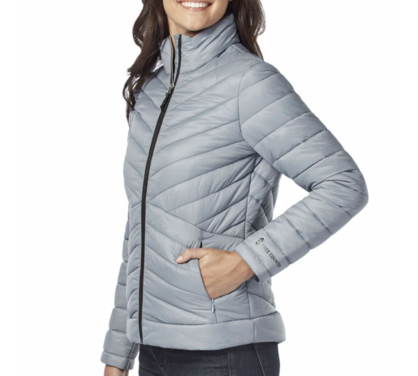 Free Country Quilted Ultrafill Puffer Jacket Full Zip Gray Skies S Zip Pockets $28.00