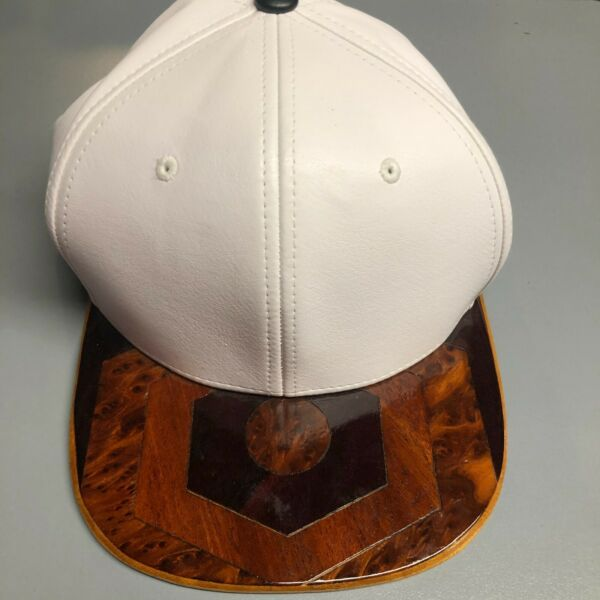 PIT BULL Hat Wooden Brim White Faux Leather Snapback
