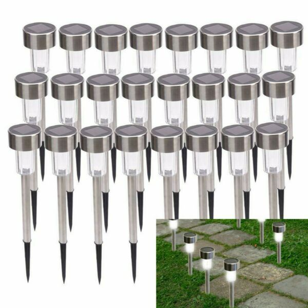24 PC Solar Power LED Outdoor Lights Stainless Steel Landscape Garden Lawn Path $25.98