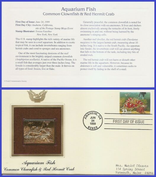 USA7 #3320 ADDR GOLDEN REPLICA FDC Fish Heater $3.95