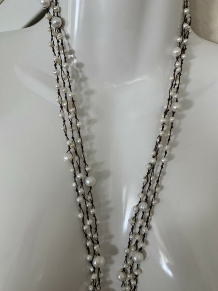 Long Black Boho Rope Fresh WaterPearl Necklace