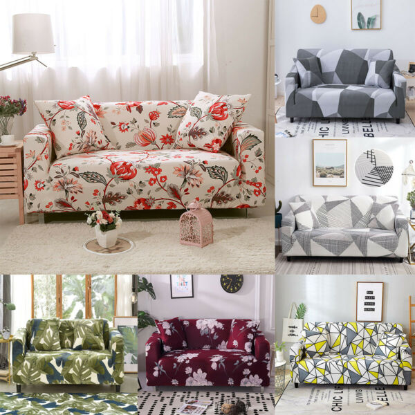 1X Printed Slipcover Sofa Covers Spandex Stretch Couch Cover Furniture Protector $21.99
