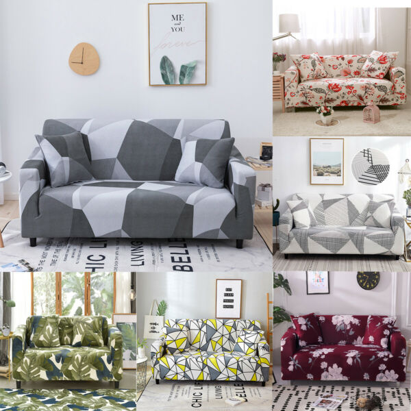1 2 3 4 Seater Floral Printed Couch Covers Stretch Sofa Covers for Living Room $23.99