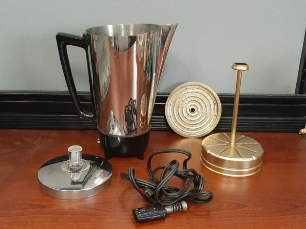 Vintage Electric Chrome Coffee Percolator Mid century 9 Cup Made by Presto