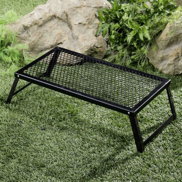 Heavy Duty Over The Fire Camping Grill with Grate Top and 4 Legs