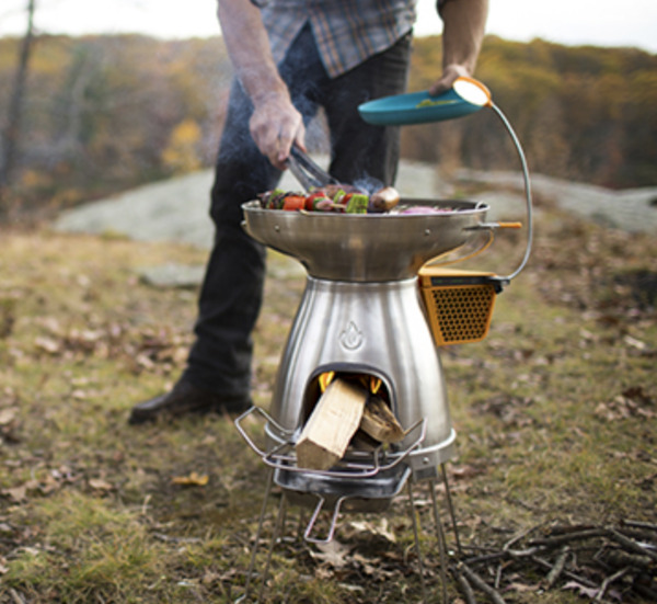 NEW: BioLite BaseCamp Grill Wood Stove Light Thermoelectric Generator Camping