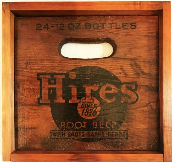 VINTAGE HIRES ROOT BEER WOODEN CRATE END PANEL – WALL HANGING