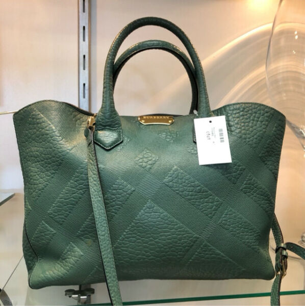 BURBERRY Green Embossed Check Leather Signature Satchel Handbag $849.00