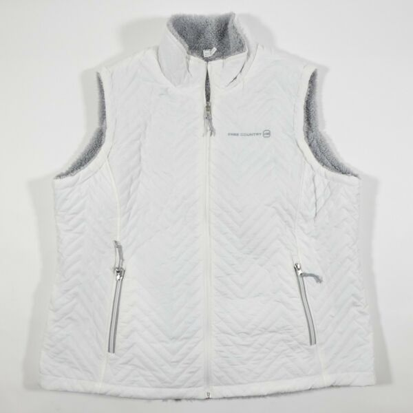 Free Country Quilted Puffer Vest Reversible Womens XXL White Faux Fur Fleece $15.95