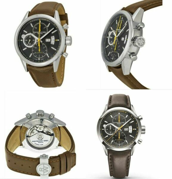 Raymond Weil 7730 STC 20021 Freelancer Men#x27;s Automatic Brown Leather Watch $839.99