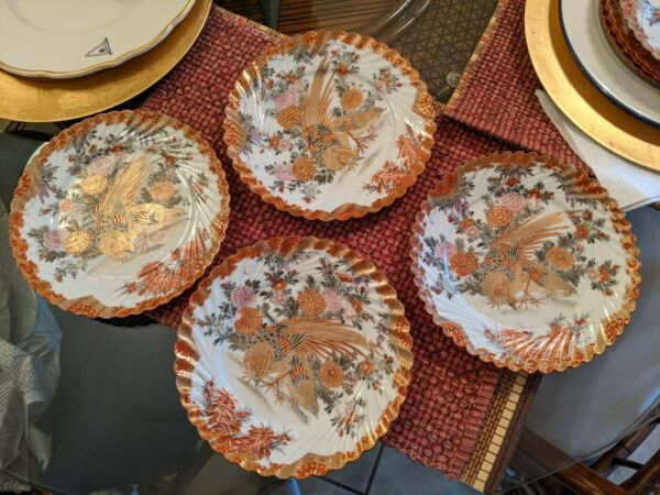 4 Antique Meiji Japanese Kutani Porcelain Plate Birds Flowers Red Gold Scalloped