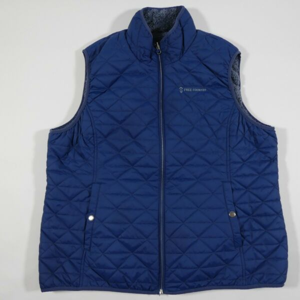 Free Country Quilted Puffer Vest Reversible Womens XXL Blue Faux Fur Fleece $15.95