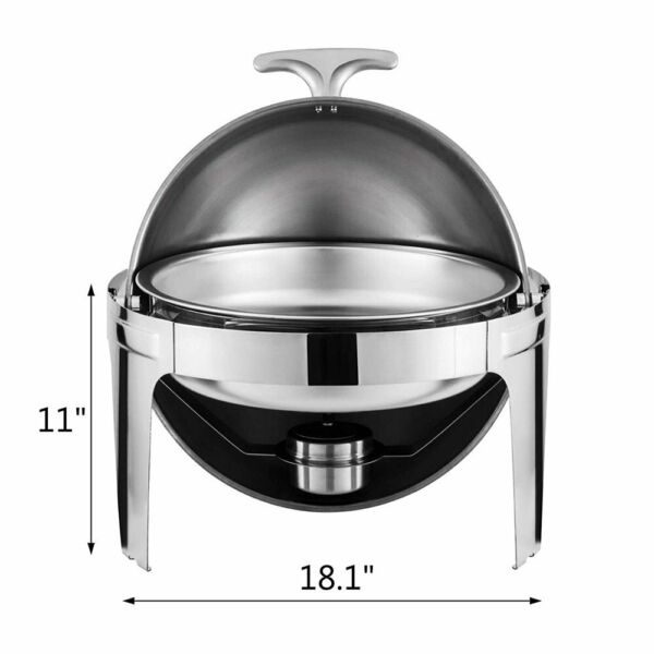 6 Quart Stainless Steel Stove Round Roll Top Chafing Dish Chafer for All Events