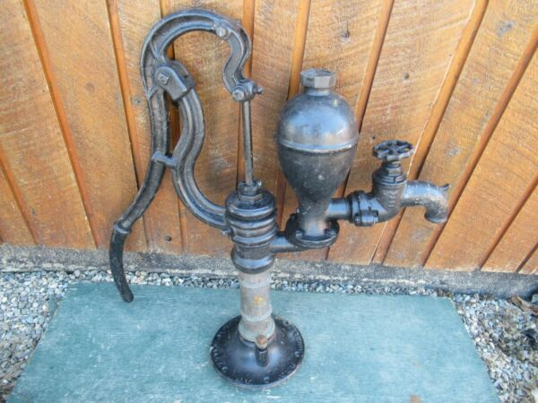 RARE Vintage Cast Iron Hand WATER PUMP BRASS Cylinder 31quot; High Signed GOULD $399.99