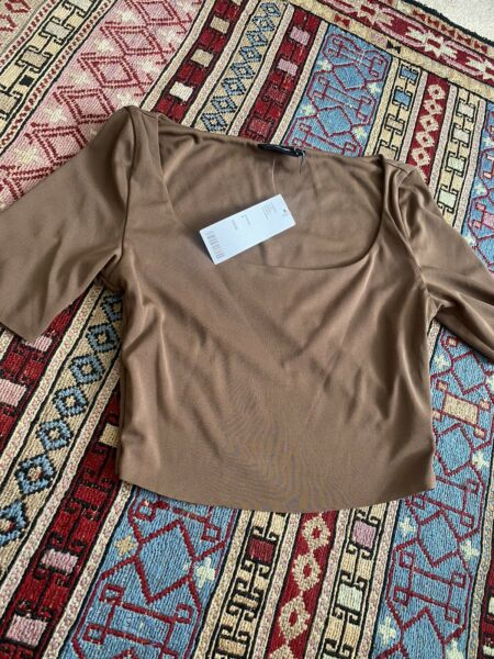 Out From Under For Urban Outfitters Short Sleeve Brown Crop Top Size S P RP £29 GBP 14.90