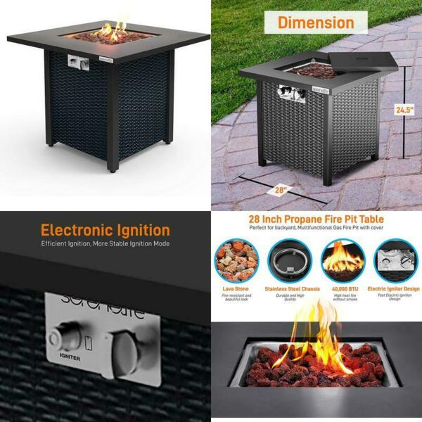 Serenelife Slfps3 Outdoor Pit Csa Approved Safe 40000 Btu Pulse Ignition Propan