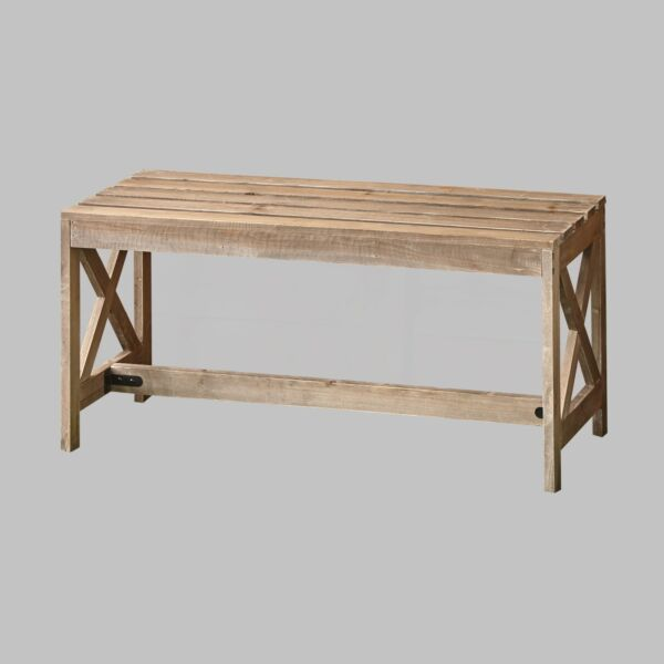 Outdoor Wood Slat Bench with Distressed Finish $118.97