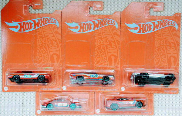 Hot Wheels 53rd Anniversary Orange and Blue Series Set of 5 Cars 2021 Wave 2 $19.99