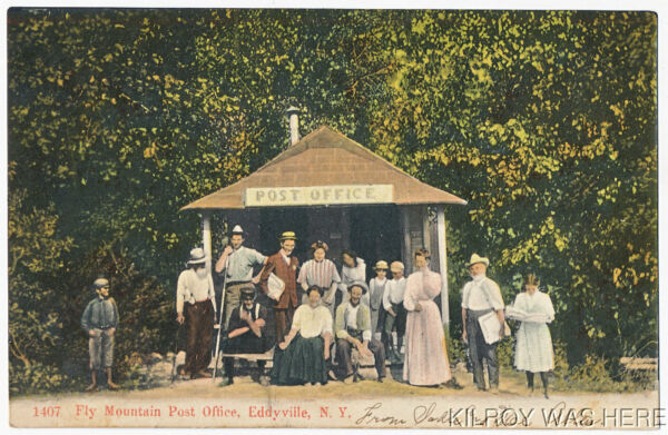 1907 PC Fly Mountain Post Office Eddyville New York Tiny Building Everyone Here $7.00