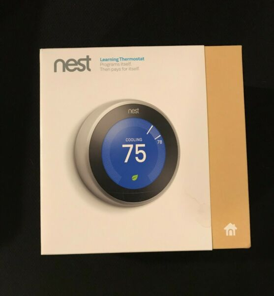 Open Box Nest Learning Programmable Thermostat Stainless Steel T3007ES $149.99
