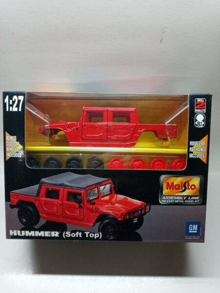 Maisto 1:27 Red Hummer Soft Top New In Box #39959 Die Cast Metal Model Kit