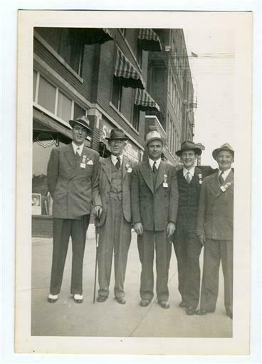 5 Well Dressed Men Wearing Hats and Badges Black amp; White Photo