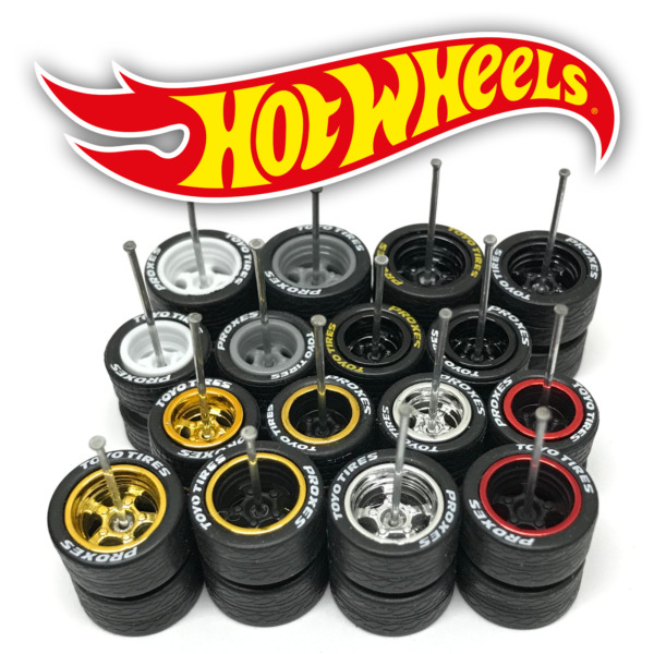 Hot Wheels 5 SPOKE DEEP DISH STAGGERED Real Riders Wheels Tires Set 1 64 Scale $6.99