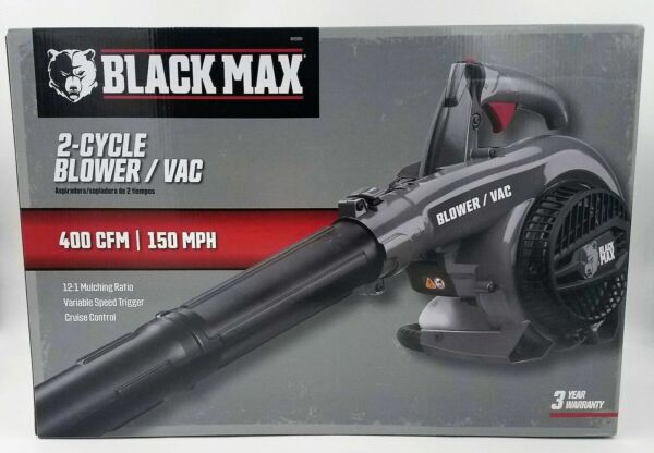 🔥NEW Black Max 26cc 2 Cycle Engine 400 CFM and 150 MPH Gas Blower Vacuum