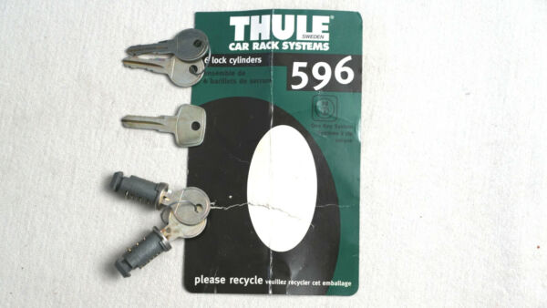2 Thule lock cores 596 with four keys quot;change keyquot; amp; installation guide $21.99