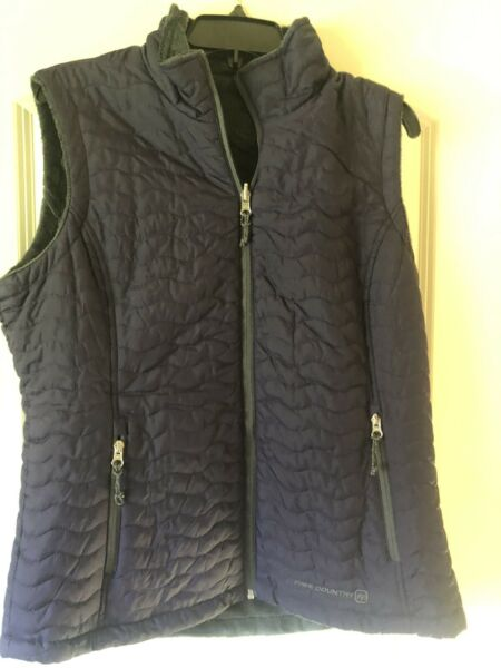 Free Country Quilted Faux Fur Women#x27;s Reversible Vest Purple Dk Grey Large $13.98