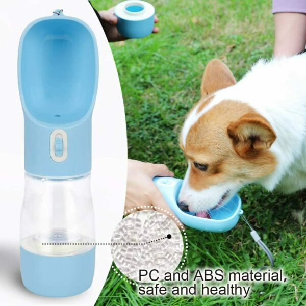 Portable Pet Dog Travel Water Bottle Food Feeder Dual Cup 258ML Water $12.30
