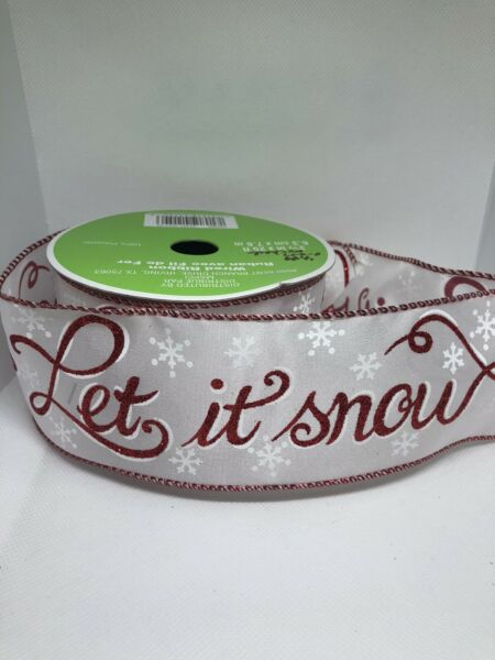 """Christmas Ribbon Red amp; White """"let It Snow"""" 2 1 2quot; Wired 25 ft"""