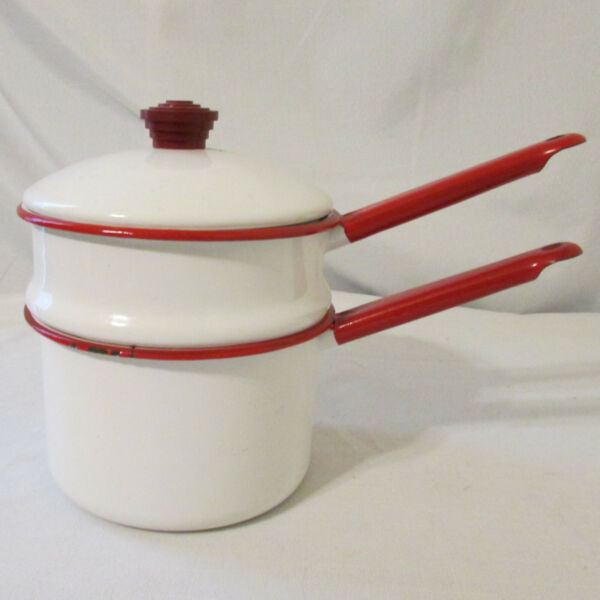 Vintage Enamelware Lidded Double Boiler White with Red Accents Art Deco Handle $20.00