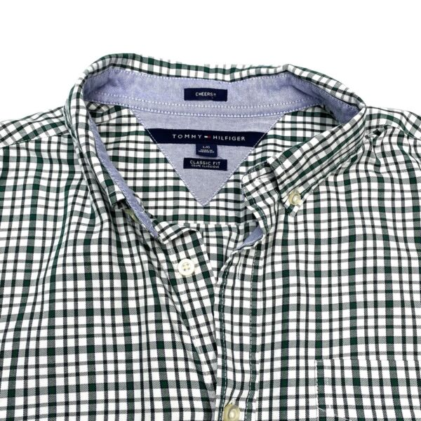 Tommy Hilfiger Mens Classic Fit Cheers Long Sleeve Plaid Button Down Shirt Large $18.99