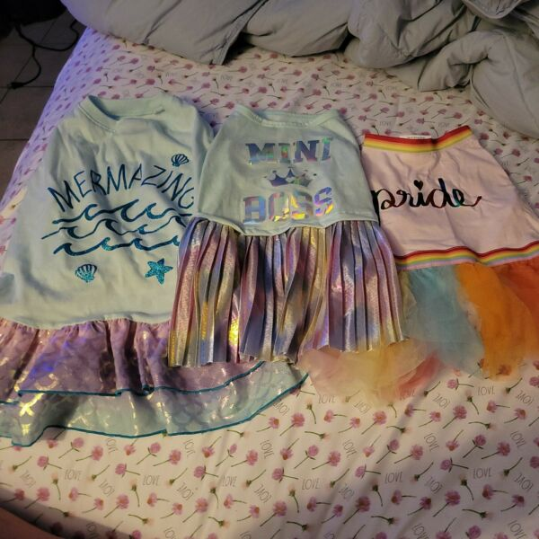 Lot Of 3 girl shirts Top Paw mermazig dresses pride Clothes OUTFIT dog large $22.00