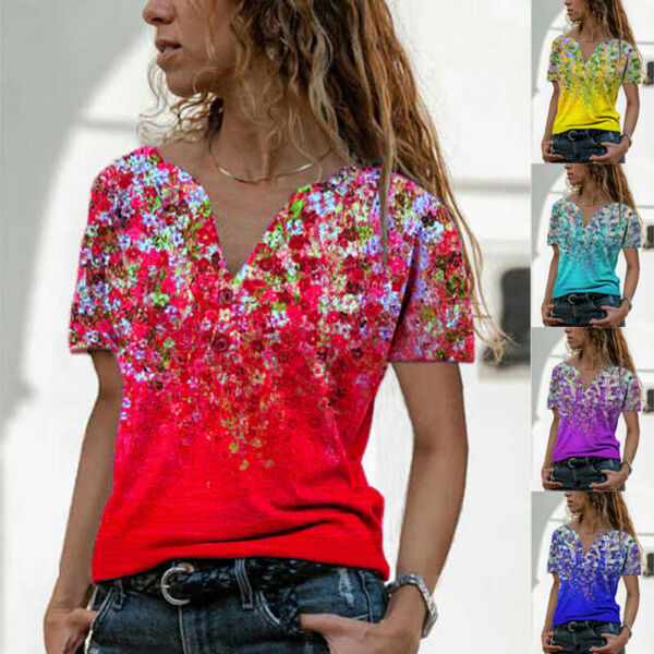 Summer Womens Casual Floral Blouse Button V Neck Short Sleeve T Shirt Loose Tops $15.52