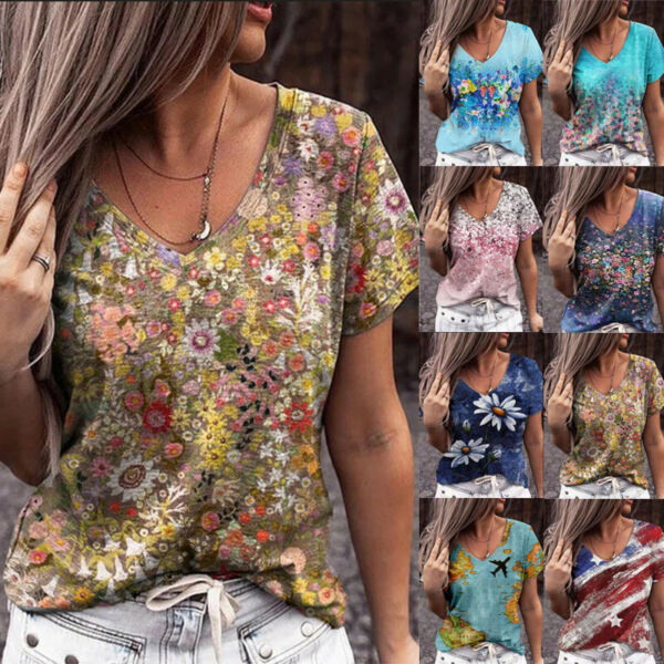 Summer Women Floral Printing Blouse V Neck Short Sleeve T Shirt Casual Loose Top $15.47