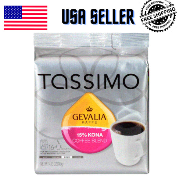 Gevalia Kona Blend T Discs for Tassimo Coffee Brewing Systems 16 Count 15% NEW