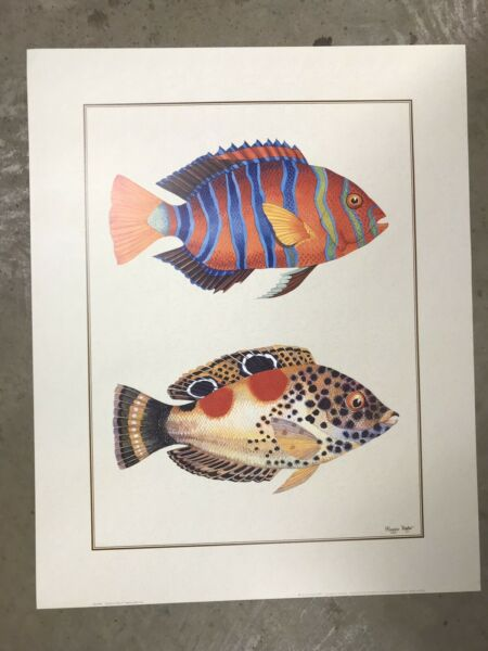"""Vintage 1993 Poster By Maggie Riegler Art Print Tropical Fish 1 Nautical 16""""x20"""" $10.00"""