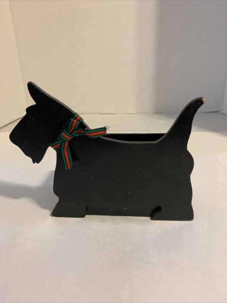 Scottie Dog Shaped with Wooden Box Black with Bow $12.00