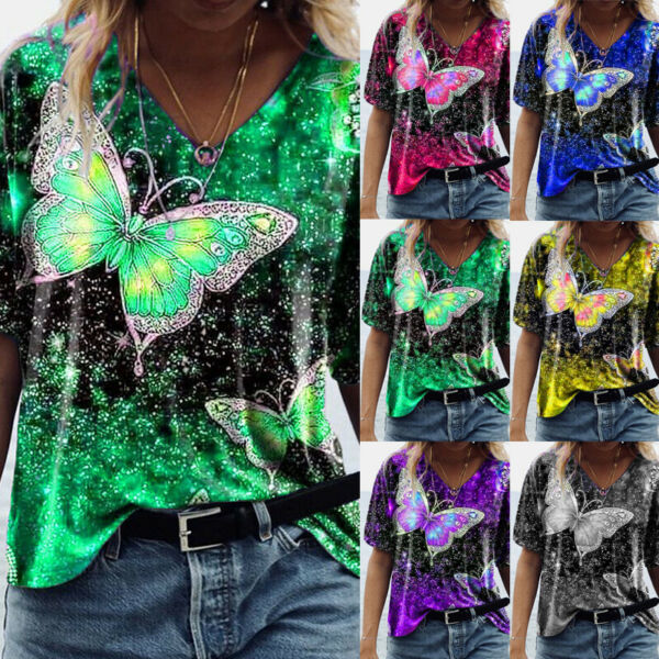 Summer Women Tunic Short Sleeve Casual T Shirt Tee V Neck Loose Floral Tops Plus