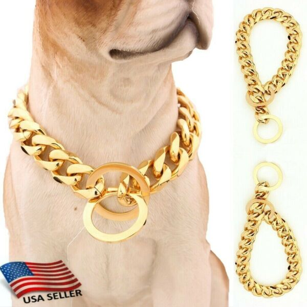 Training DOG Collars Cats Pets Cuban Link Thick Chain Necklace Gold 35 45 55Cm $11.52