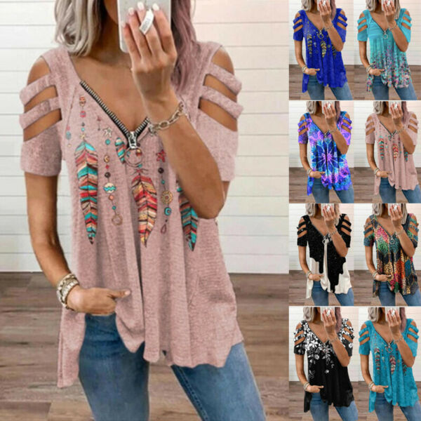 Womens Zipper V Neck T Shirt Casual Floral Blouse Loose Hollow Short Sleeve Tops $15.99