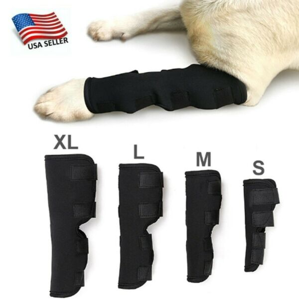 1 Pair Dog Leg Brace Hock Joint Knee Support Rear Therapeutic Pet Black Useful $11.50