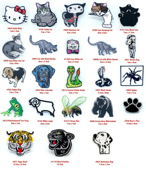 Cute Animals Collection Cat Dog Snake Tiger Fly Iron on Sew on Embroidered Patch $3.01